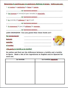 Realidades 1 Tema 3A Videohistoria Activities Worksheet