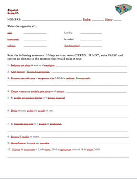 Realidades 1 Tema 8A Vocabulary Practice or Warm-Up(s) Worksheet