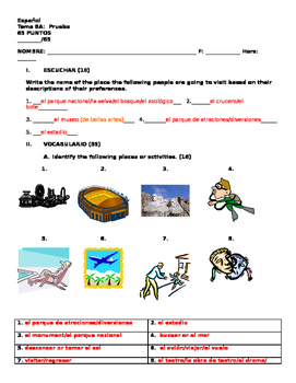 Realidades 1 Tema 8A Vocabulary Quiz   TRAVEL