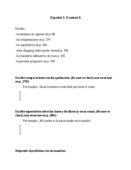 Realidades 1 Unit 6 Study Guide-comparisons,superlatives,present prog,command