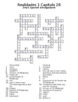Realidades 1 Vocabulary Crossword Chapter 2
