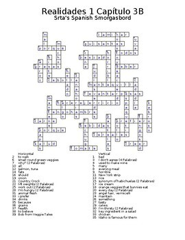 Realidades 1 Vocabulary Crossword Chapter 3