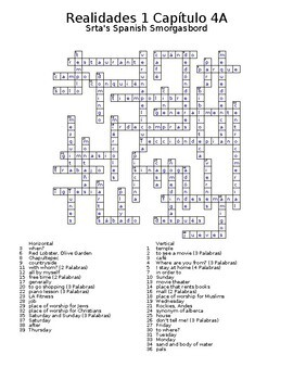 Realidades 1 Vocabulary Crossword Chapter 4