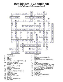 Realidades 1 Vocabulary Crossword Chapter 9