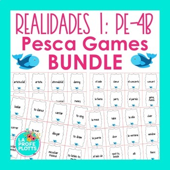 Realidades 1 Vocabulary ¡Pesca! Game BUNDLE #1 (Para Empezar-4B)