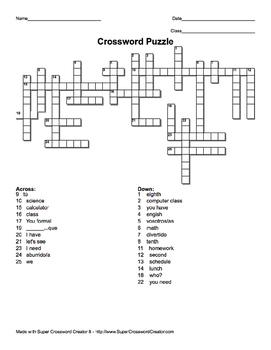 Realidades 1 capítulo 2a Crossword crucigrama spanish