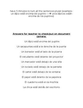 Realidades 1 chapter 2B Spanish class objects & prepsitions running dictation