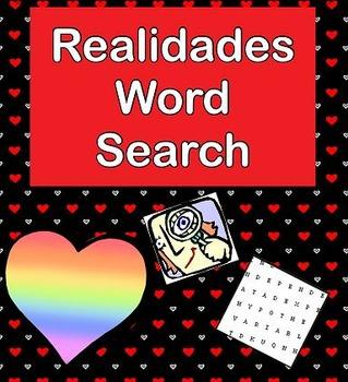 Realidades 1 cp. 3A 3B word search