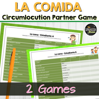 Spanish 1(Realidades) Bundle: LA COMIDA vocabulary practice circumlocution game
