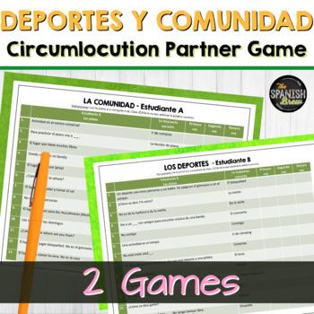 Spanish 1 vocabulary circumlocution game- comunidad y deportes