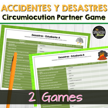 Realidades Spanish 2 5A-B Bundle:vocab circumlocution game accidents & disasters