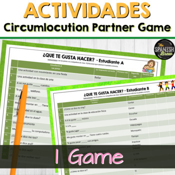 """Realidades / Spanish 1 vocabulary circumlocution game """"tres veces"""" Chapter 1A"""