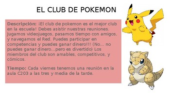 Realidades 1A Create a Club Poster Project