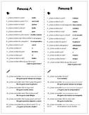 Realidades 1A: Persona A/Persona B Review Activity (Spanish 1)