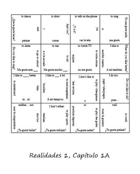 Realidades 1A Review Puzzle (Spanish 1)
