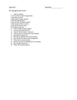 Realidades 1A Translation Sentences - gustar