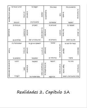 Realidades 1A Vocab Puzzle (Spanish 2)