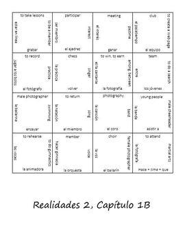 Realidades 1B Vocab Puzzle (Spanish 2)