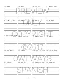 Realidades 2 - 1A - 5X - Spanish Homework Write Five Times Each