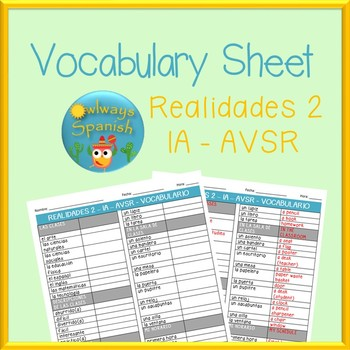 Realidades 2 - 1A - AVSR - Spanish Vocabulary Sheet