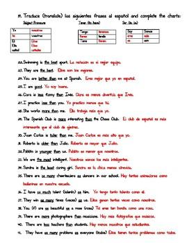 Realidades 2. 1A. LAS COMPARACIONES. STUDY GUIDE