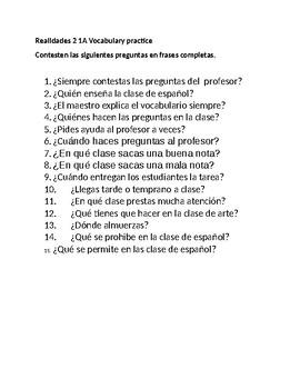 Realidades 2 1A Vocabulary Practice