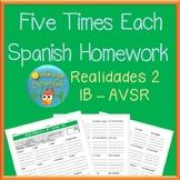 Realidades 2 - 1B - AVSR - 5X - Spanish Homework Write Five Times Each