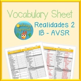 Realidades 2 - 1B - AVSR - Spanish Vocabulary Sheet