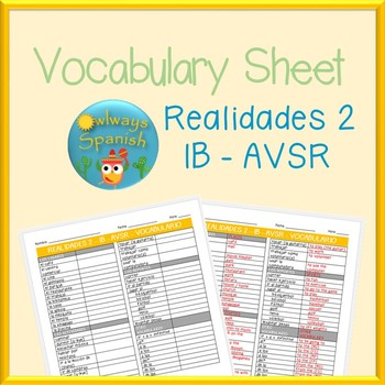 Realidades 2 - 1B - AVSR - Spanish Vocabulary Sheet