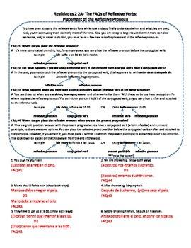 Realidades 2 2A: Reflexive pronounverb placement: FAQs w conj.verb, infin., P/P/