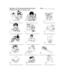 Realidades 2 2A Vocabulary Identification Practice