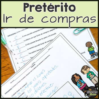 Spanish 2 worksheet input & translations- preterite & shopping