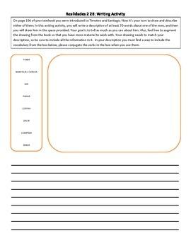 Realidades 2 2B writing activity: draw and describe