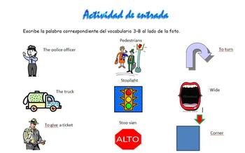 Realidades 2 3-B Vocabulary Entry Activity with Pictures