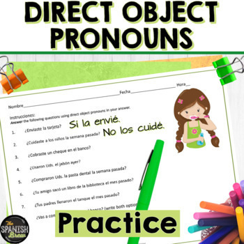 Spanish 2 worksheet- Direct object pronouns practice