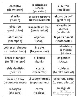 Realidades 2 3A Vocab: Pictionary + Circumlocution Games