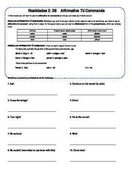 Realidades 2 3B Explanation & Practice- Affirmative Commands Regular & Irregular