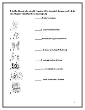 Realidades 2 Unit 4 A&B Test / Exam
