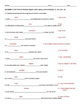 Realidades 2 6A: Preterite Review or Quiz: All Types of Preterite Verbs