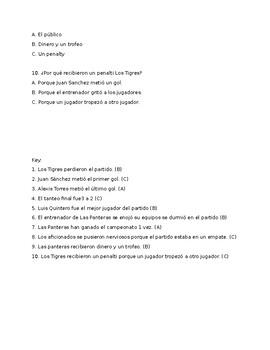 Realidades 2 6A Reading Comprehension Practice/Quiz