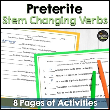 Realidades Spanish 2 6A : review handout preterite stem changing verbs
