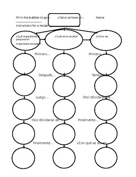 Realidades 2 7A Cooking Instructions Graphic Organizer