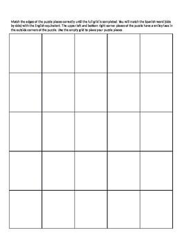 Realidades 2 7A Vocabulary Puzzle