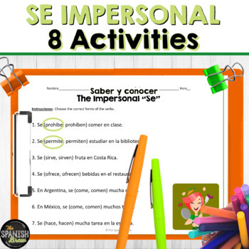 Realidades Spanish 2 7A grammar practice: the impersonal se