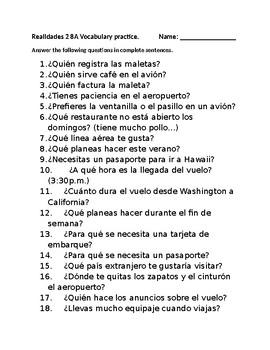 Realidades 2 8A Vocabulary practice