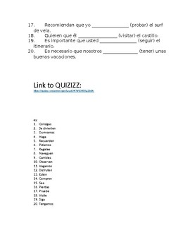 Realidades 2 8B Present Subjunctive Quiz with link to QUIZIZZ