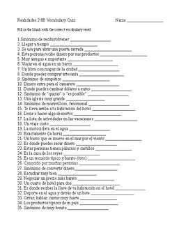 Realidades 2 8B Vocabulary Quiz