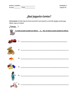 Realidades 2 Capitulo 4A ¿Qué juguetes tenías? Vocabulary review