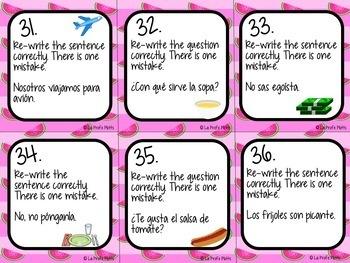 Realidades 2: Capítulos 7A & 7B Task Cards