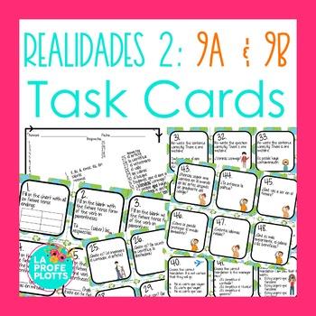 Realidades 2: Capítulos 9A & 9B Task Cards